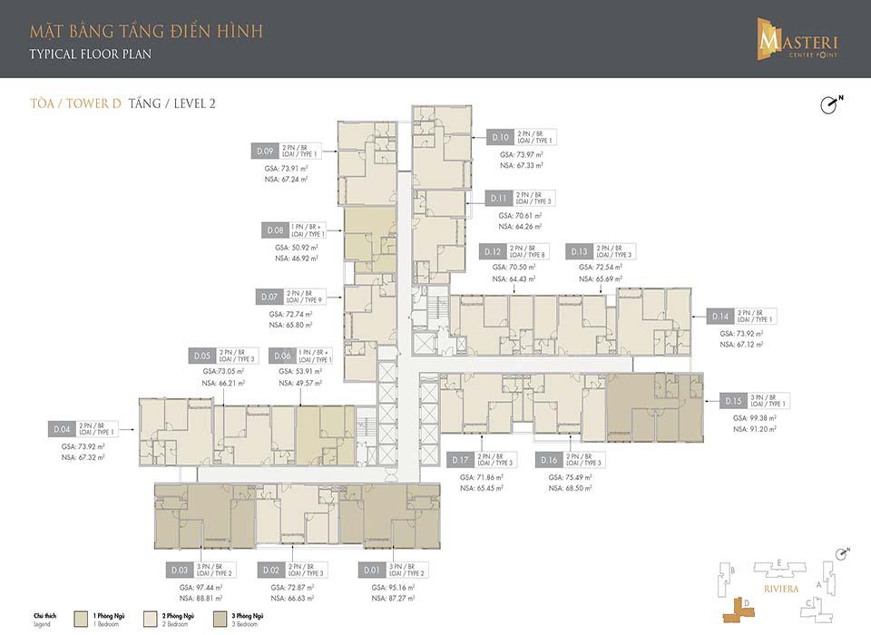 Layout Tòa D - Mặt bằng phân khu Riviera | Masteri Centre Coint Quận 9