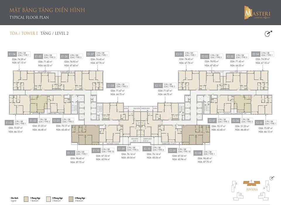 Layout Tòa E - Mặt bằng phân khu Riviera | Masteri Centre Coint Quận 9