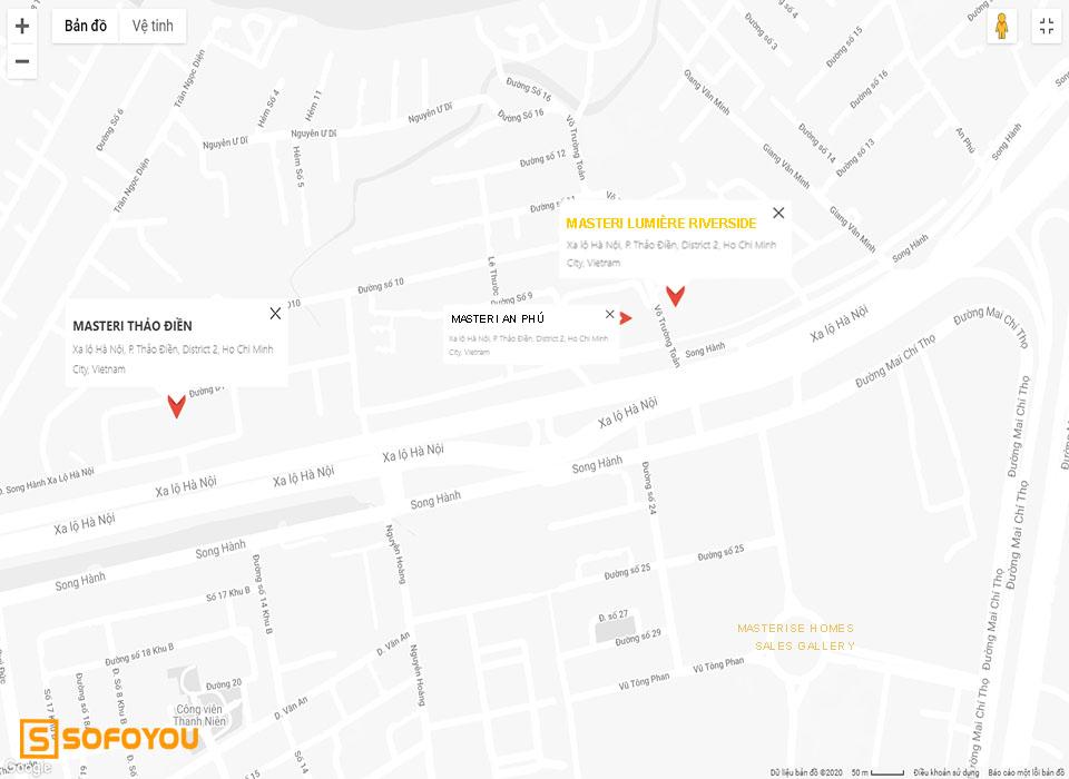 Dự án Lumière Riverside Tọa lạc tại địa chỉ 628A Xa lộ Hà Nội, An Phú, Quận 2, TP.HCM