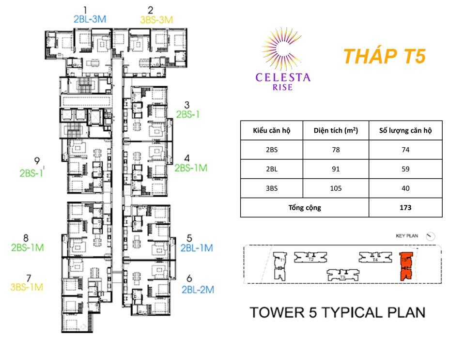 Layout Tháp T5 - Celesta Rise Nam Sài Gòn có bao nhiêu căn hộ cao cấp?