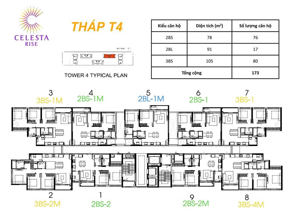 Layout Tháp T4 - Celesta Rise Nam Sài Gòn có bao nhiêu căn hộ?