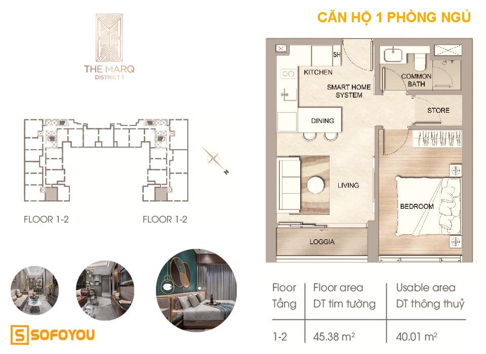 Layout thiết kế Căn hộ The Marq, 1 phòng ngủ, diện tích từ 45 - 79m2