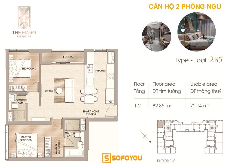 Layout thiết kế Căn hộ chung cư 2 phòng ngủ, diện tích từ 72 - 85m2