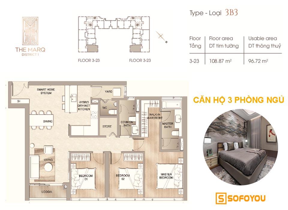 Layout thiết kế Căn hộ cao cấp The Marq, 3 phòng ngủ, diện tích từ 109 - 129m2