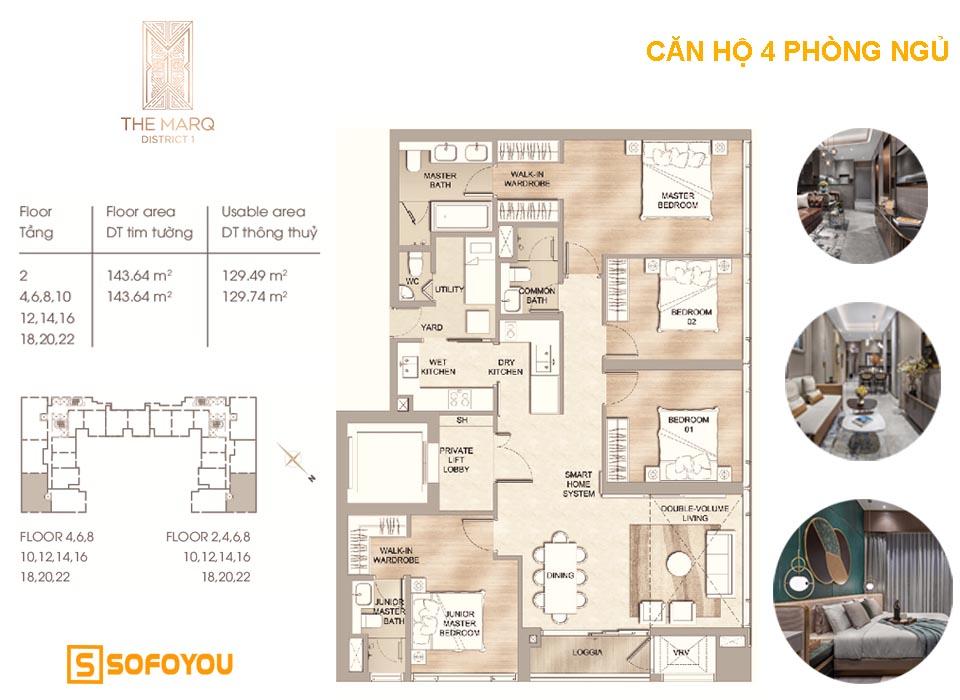 Căn hộ hạng sang The Marq, 4 phòng ngủ, diện tích từ 144 - 146m2