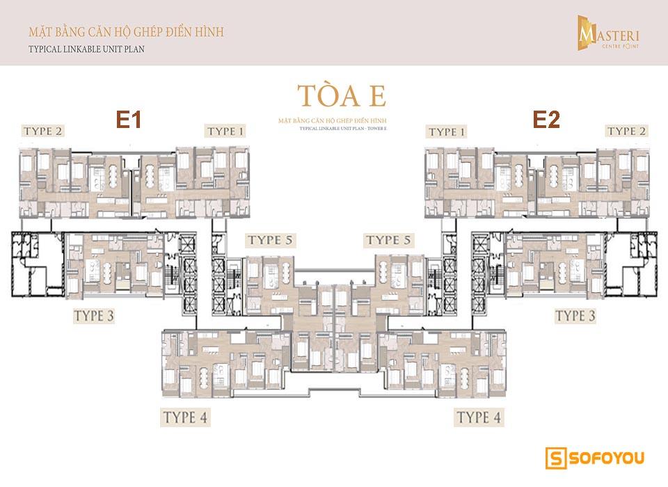 Mặt bằng căn hộ ghép thông tầng masteri centre point tòa E gồm E1 & E2