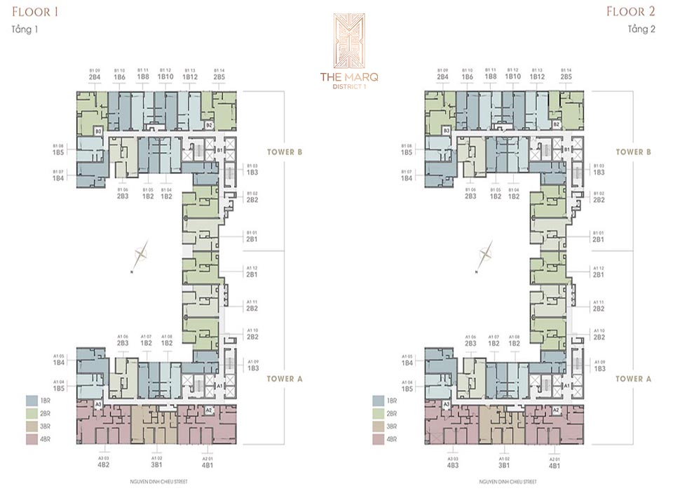 Master Plan of The Marq District 1 gồm 4 layout căn hộ 1, 2, 3 và 4 phòng ngủ