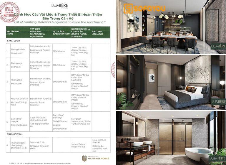 Danh mục bàn giao căn hộ chung cư Lumière Riverside có gì nổi bật?