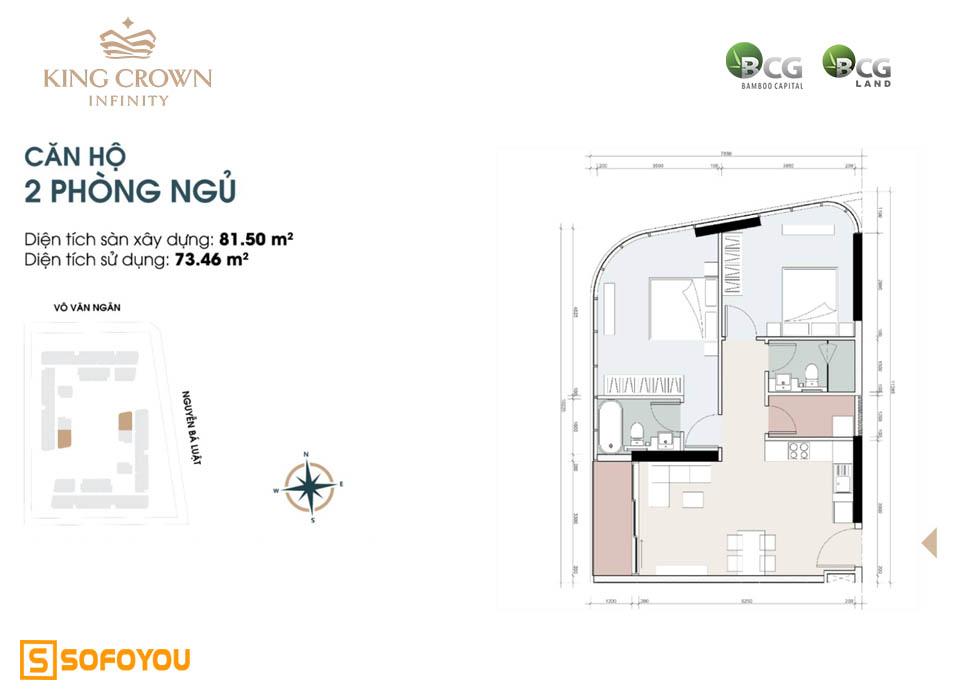 Layout thiết kế căn hộ cao cấp King Crown Infinity 2 phòng ngủ