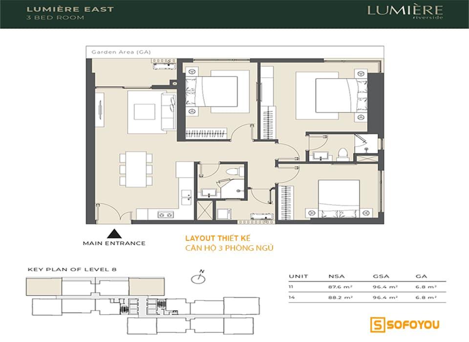 Layout thiết kế căn hộ 3 phòng ngủ Masteri Lumière Riverside An Phú Quận 2