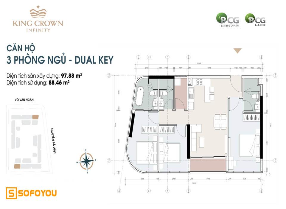 Layout thiết kế căn hộ Dual Key 3 phòng ngủ King Crown Infinity Võ Văn Ngân