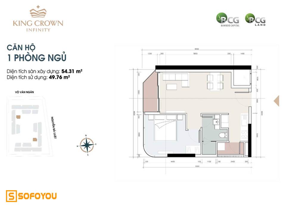 Layout thiết kế căn hộ chung cư 1 phòng ngủ King Crown Infinity Thủ Đức