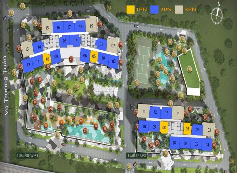 "Mặt bằng layout Lumière Riverside An Phú gồm 2 tháp ""West & East"""