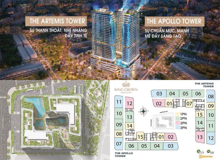 """Mặt bằng căn hộ King Crown Infinity - Mở bán 2 tòa tháp """"Apollo & Artemis"""" đợt 1"""