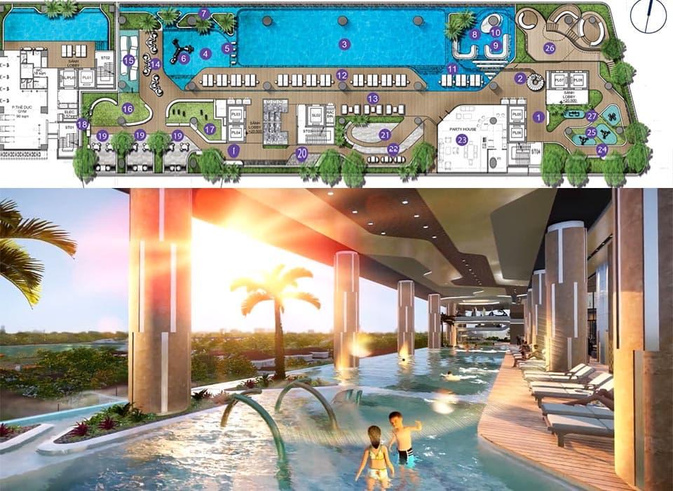 """SIX@Q2 - Khối tiện ích """"Hồ bơi"""" tầng 6 căn hộ Thảo Điền Q2"""