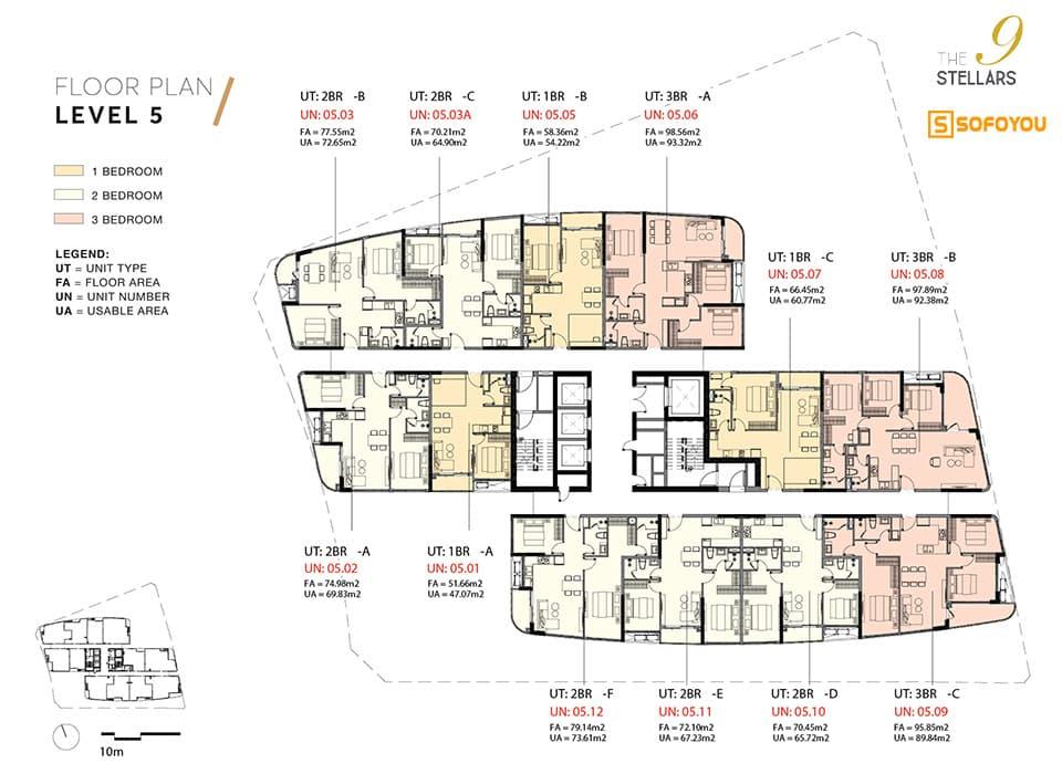 Mặt bằng Layout thiết kế căn hộ 9 Stellars SonKim Land