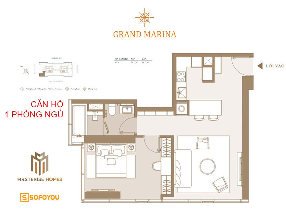 Layout thiết kế căn hộ branded residences 1 phòng ngủ