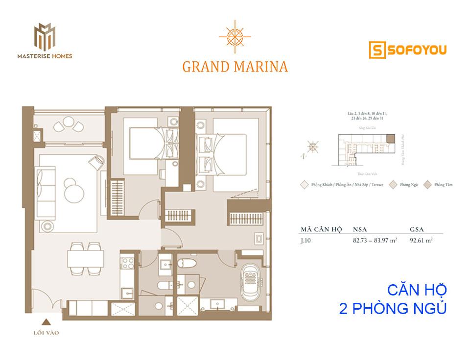 Layout thiết kế căn hộ siêu sang 2 phòng ngủ