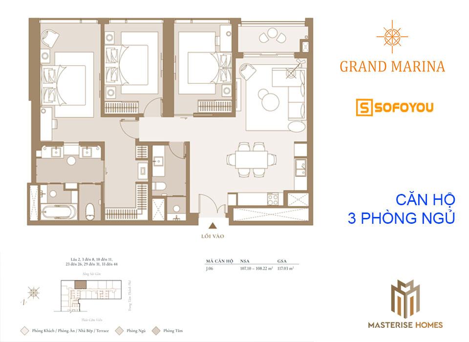 Layout thiết kế căn hộ chung cư 3 phòng ngủ