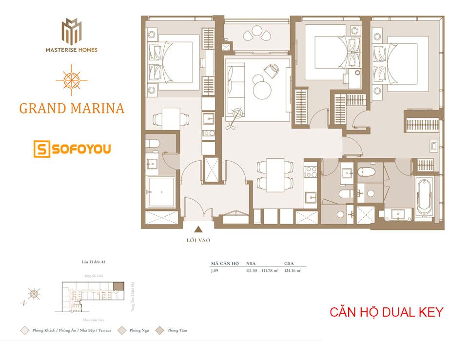 Layout thiết kế căn hộ Dual key