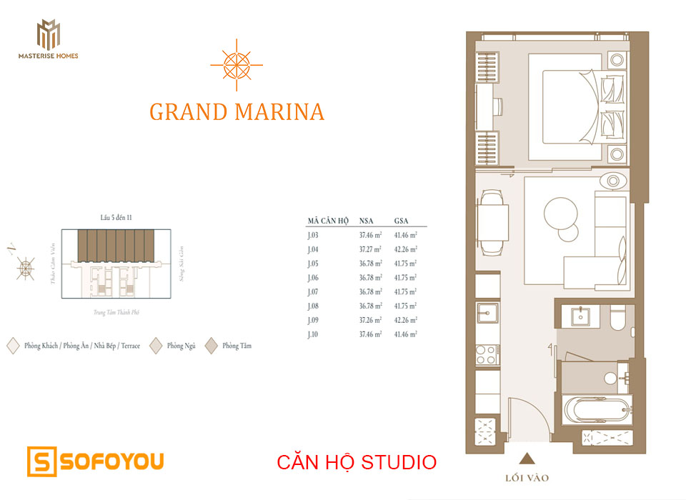 Layout thiết kế căn hộ Studio