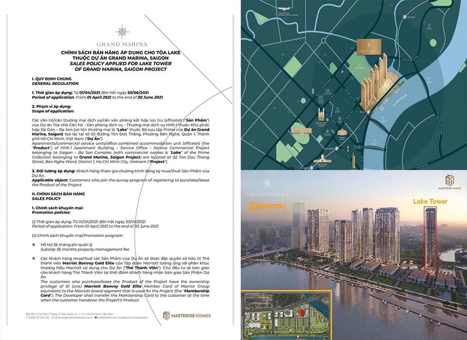 """Chính sách bán hàng - lịch thanh toán Grand Marina Saigon """"Lake tower"""" Marriott"""