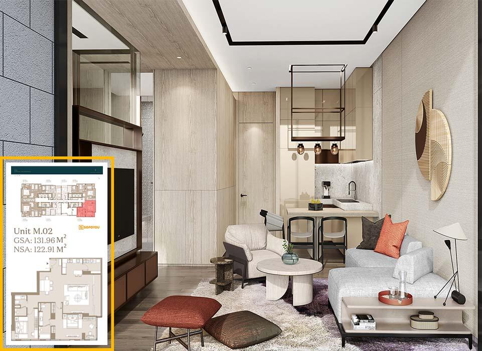 Layout thiết kế căn hộ 2 phòng ngủ Lake tower