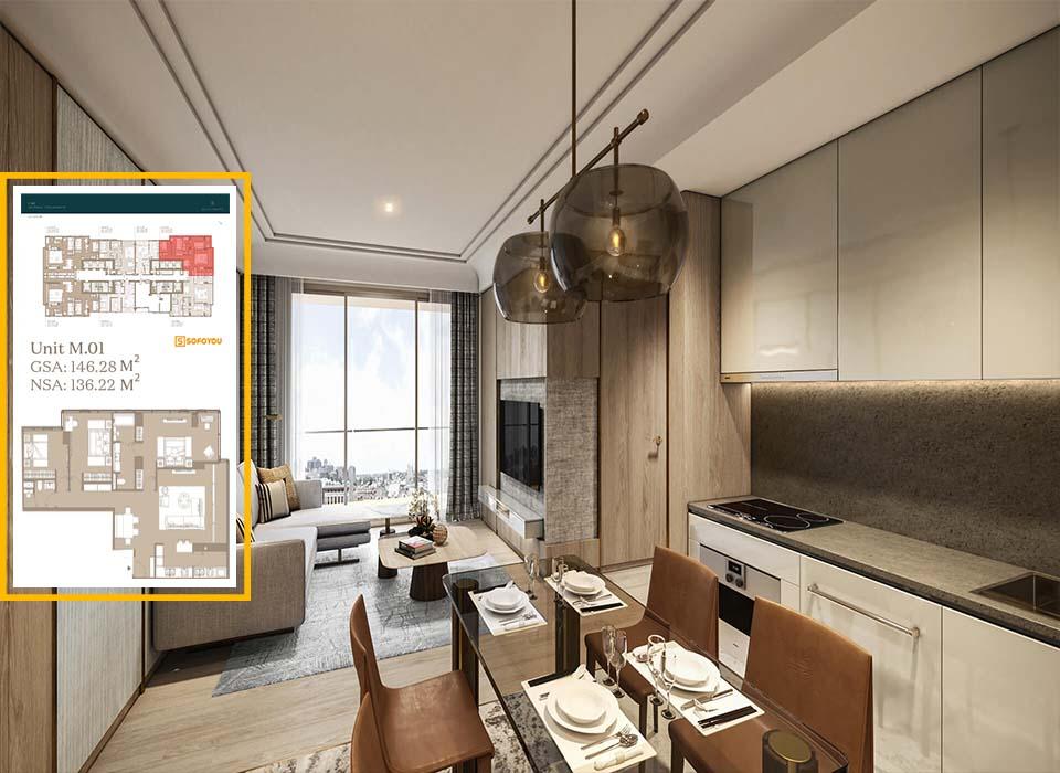 Layout thiết kế căn hộ 3 phòng ngủ Lake tower