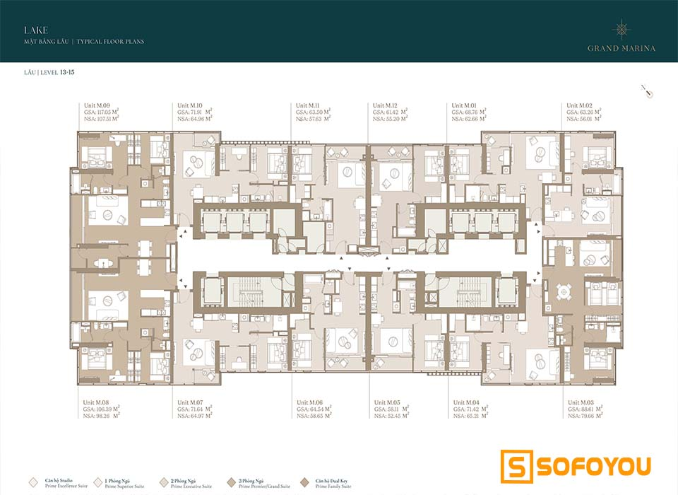 Mặt bằng Layout thiết kế căn hộ Lake tầng 13 - 15