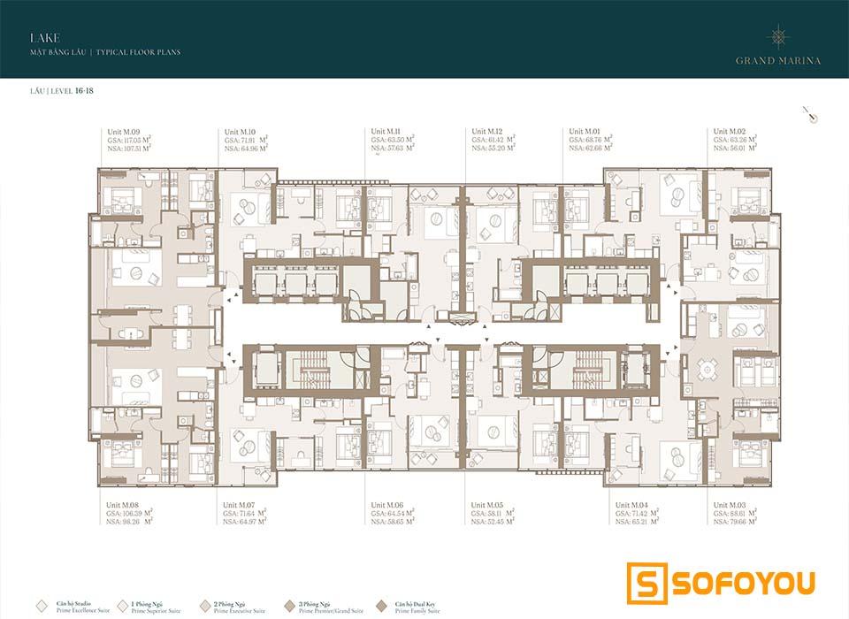 Mặt bằng Layout thiết kế căn hộ Lake tầng 16 - 18