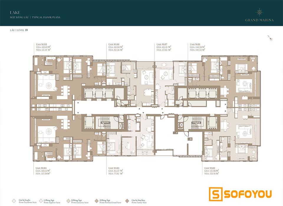 Mặt bằng Layout thiết kế căn hộ Lake tầng 19