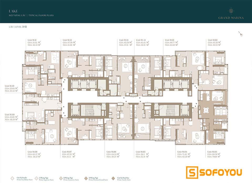 Mặt bằng Layout thiết kế căn hộ Lake tầng 2 - 12