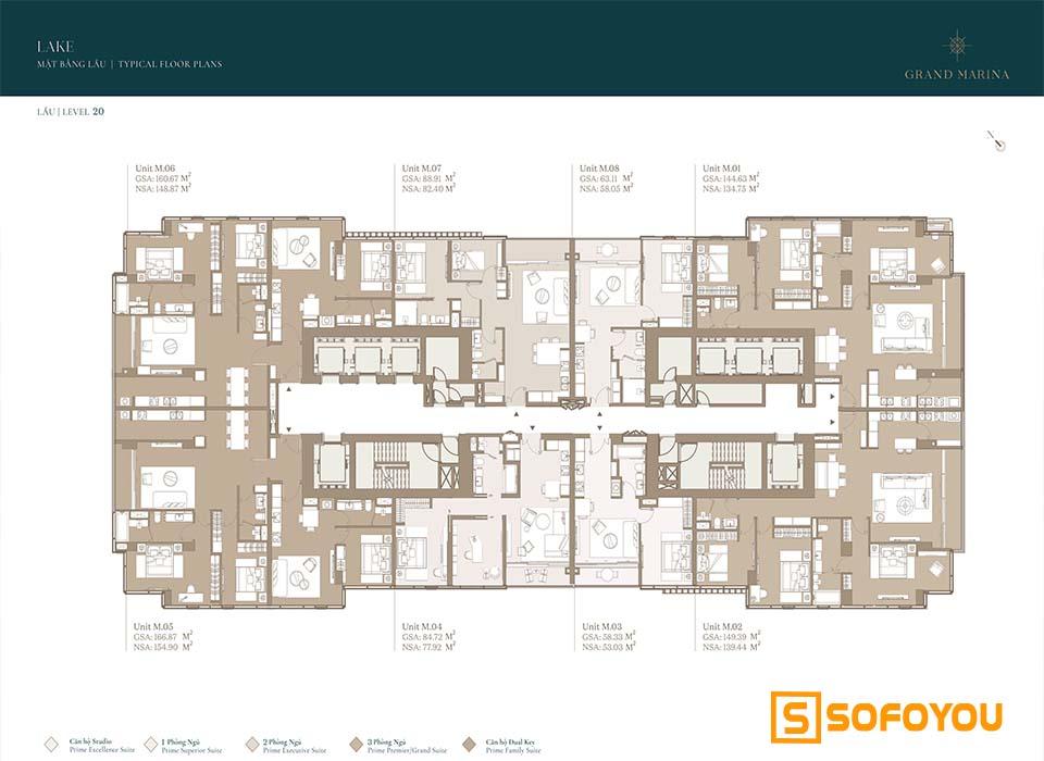 Mặt bằng Layout thiết kế căn hộ Lake tầng 20