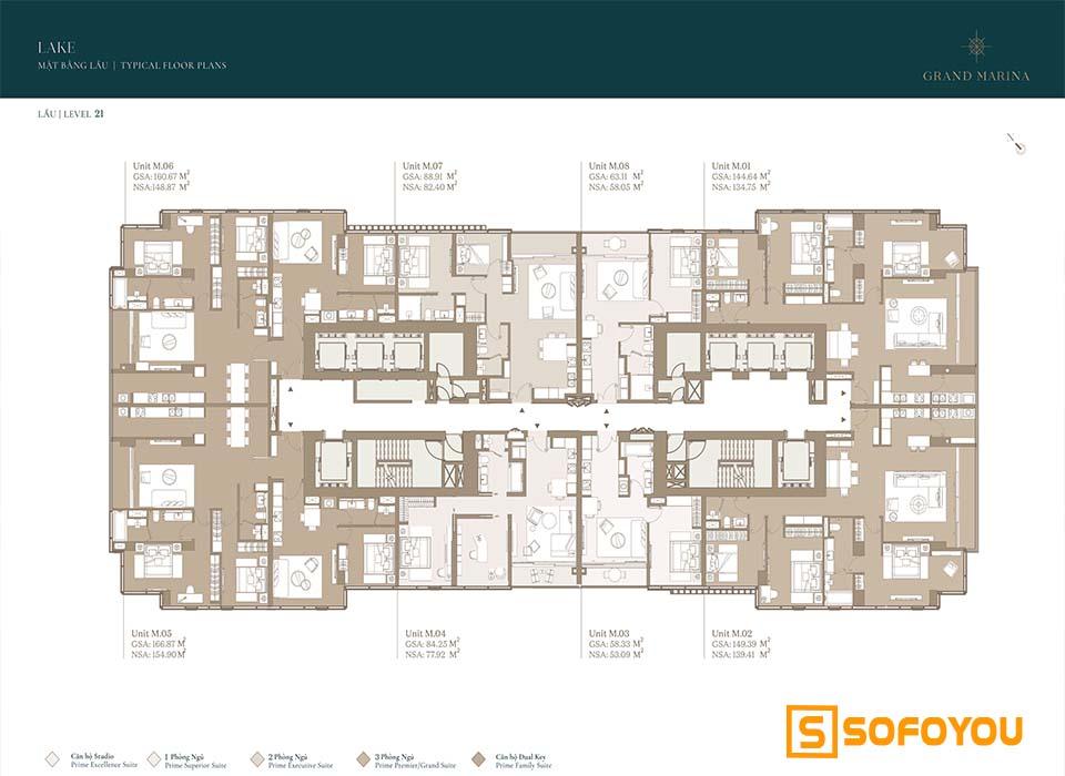 Mặt bằng Layout thiết kế căn hộ Lake tầng 21