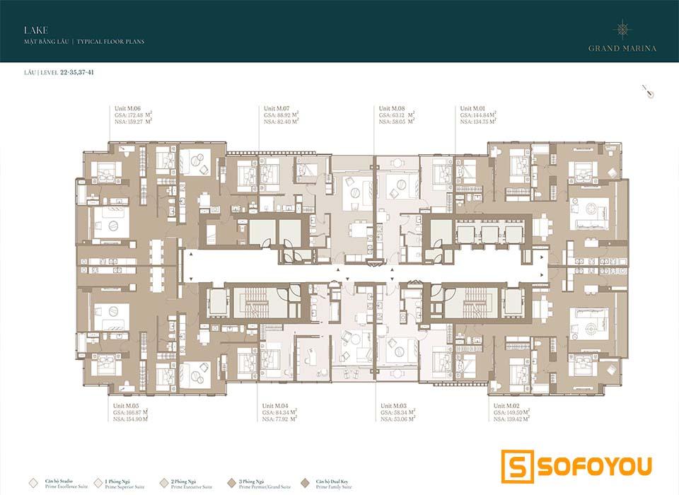 Mặt bằng Layout thiết kế căn hộ Lake tầng 22-35-37-41
