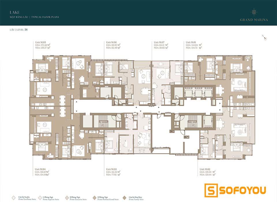 Mặt bằng Layout thiết kế căn hộ Lake tầng 36