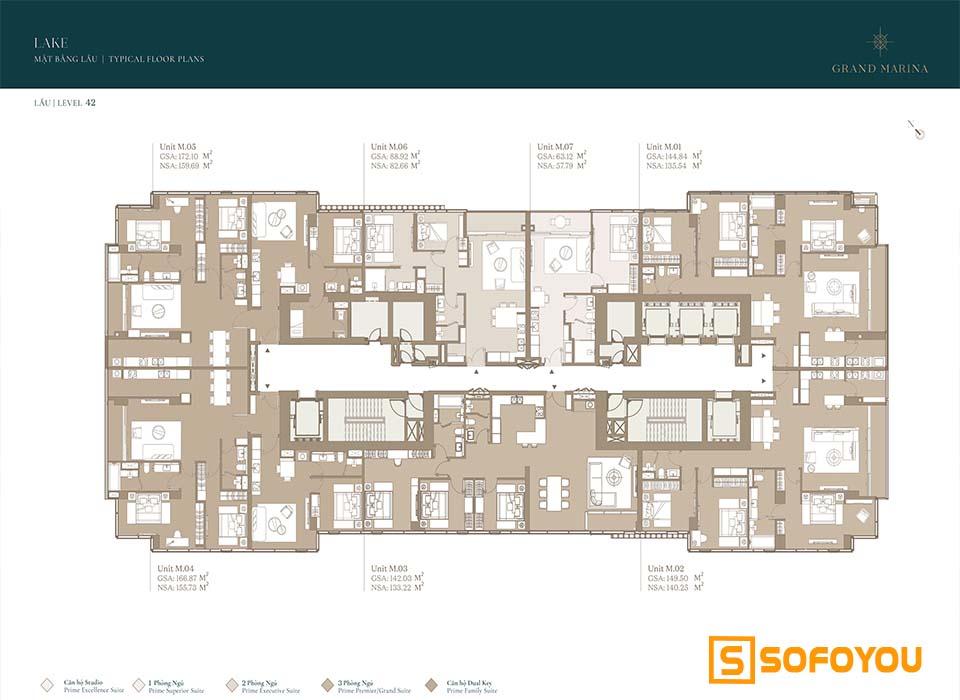 Mặt bằng Layout thiết kế căn hộ Lake tầng 42