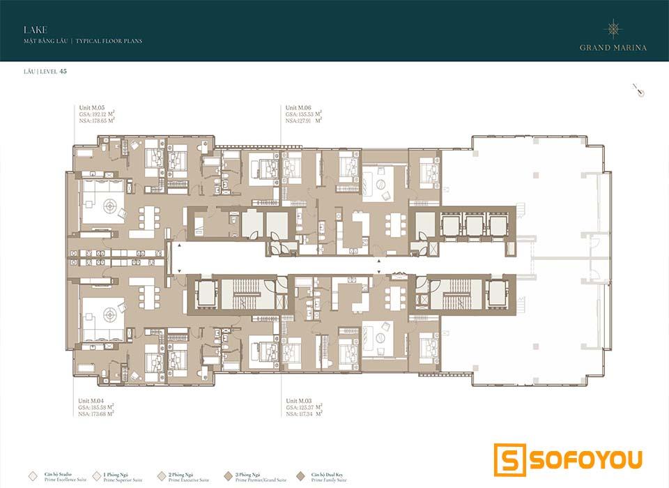 Mặt bằng Layout thiết kế căn hộ Lake tầng 45